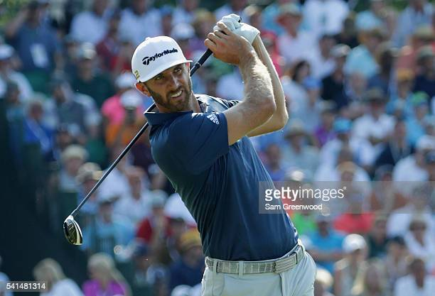 Dustin Johnson of the United States hits his tee shot on the tenth hole during the final round of the US Open at Oakmont Country Club on June 19 2016...