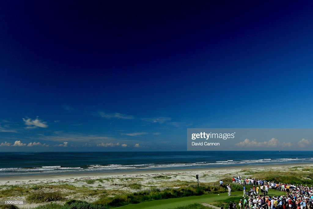 <a gi-track='captionPersonalityLinkClicked' href=/galleries/search?phrase=Dustin+Johnson&family=editorial&specificpeople=3908453 ng-click='$event.stopPropagation()'>Dustin Johnson</a> of the United States hits off the 18th tee during Round One of the 94th PGA Championship at the Ocean Course on August 9, 2012 in Kiawah Island, South Carolina.