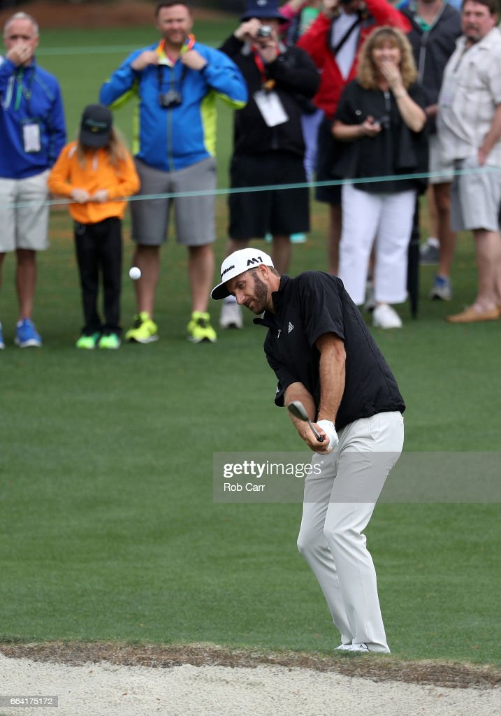 Dustin Johnson of the United States plays a shot during a practice round prior to the start of the 2017 Masters Tournament at Augusta National Golf Club on April 3, 2017 in Augusta, Georgia.