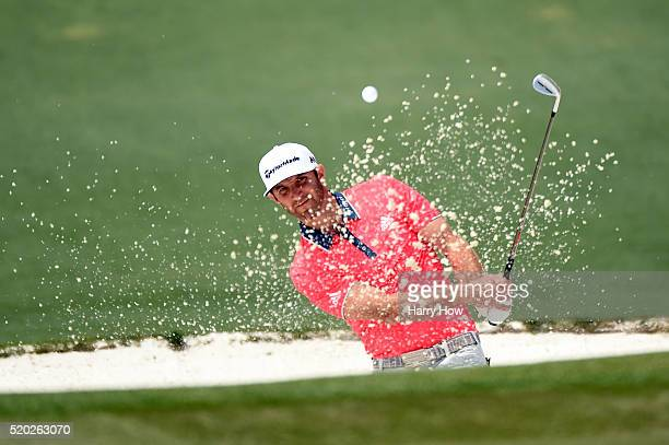 Dustin Johnson of the United States plays a shot from a bunker on the second hole during the final round of the 2016 Masters Tournament at Augusta...
