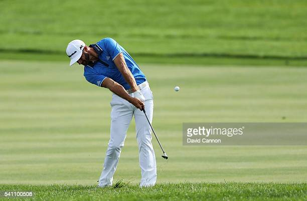 Dustin Johnson of the United States plays a shot on the third hole during the third round of the US Open at Oakmont Country Club on June 18 2016 in...