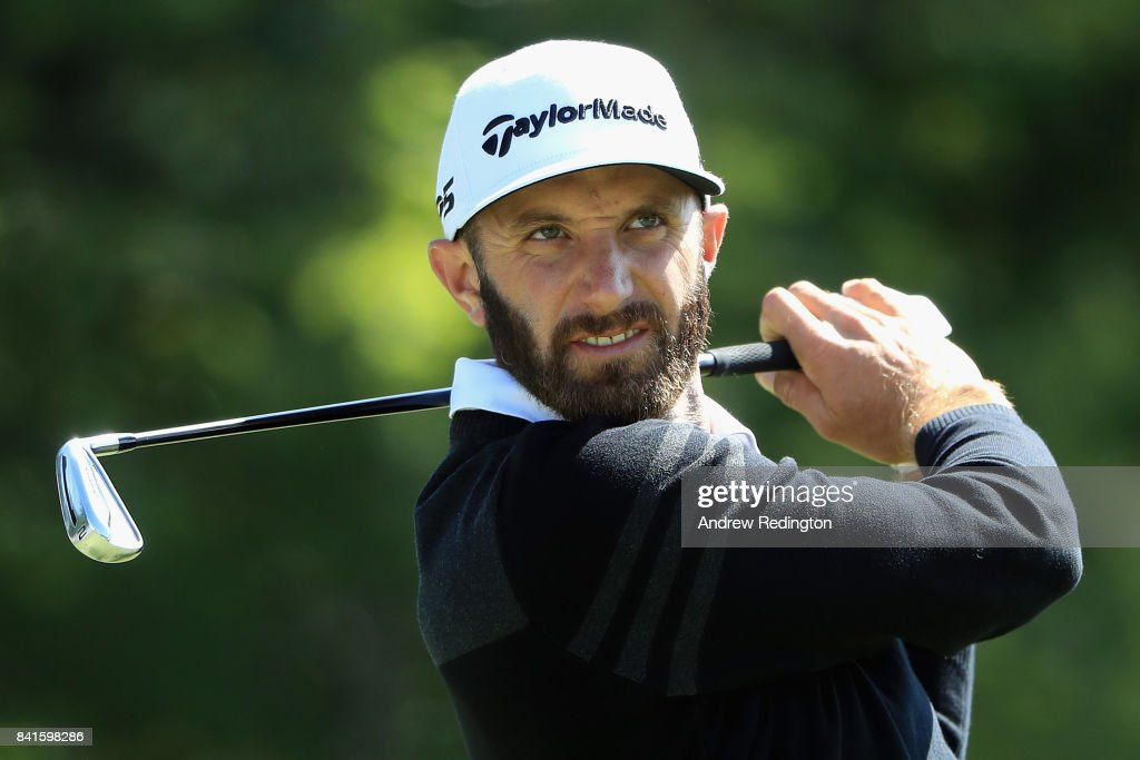 Dustin Johnson of the United States plays his shot from the 17th tee during round one of the Dell Technologies Championship at TPC Boston on September 1, 2017 in Norton, Massachusetts.