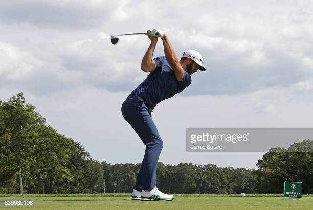 Dustin Johnson of the United States plays his shot from the fifth tee during the final round of The Northern Trust at Glen Oaks Club on August 27...