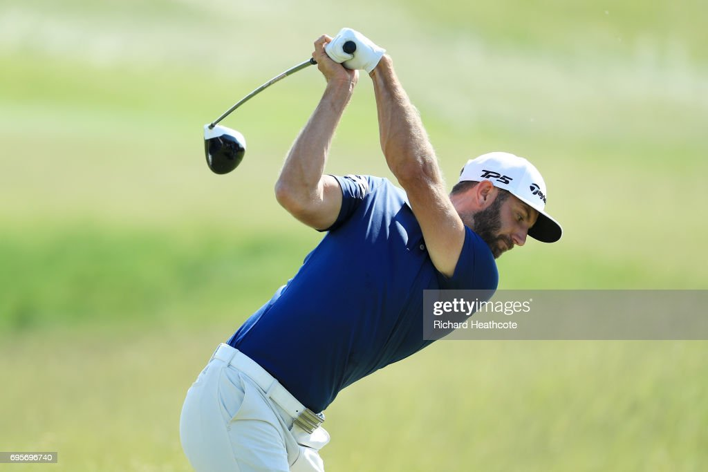 Dustin Johnson of the United States plays his shot from the first tee during a practice round prior to the 2017 U.S. Open at Erin Hills on June 13, 2017 in Hartford, Wisconsin.