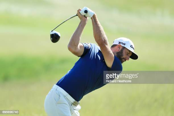 Dustin Johnson of the United States plays his shot from the first tee during a practice round prior to the 2017 US Open at Erin Hills on June 13 2017...