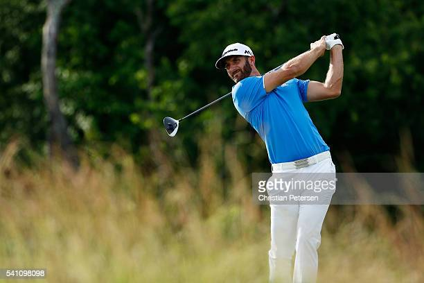 Dustin Johnson of the United States plays his shot from the fourth tee during the third round of the US Open at Oakmont Country Club on June 18 2016...