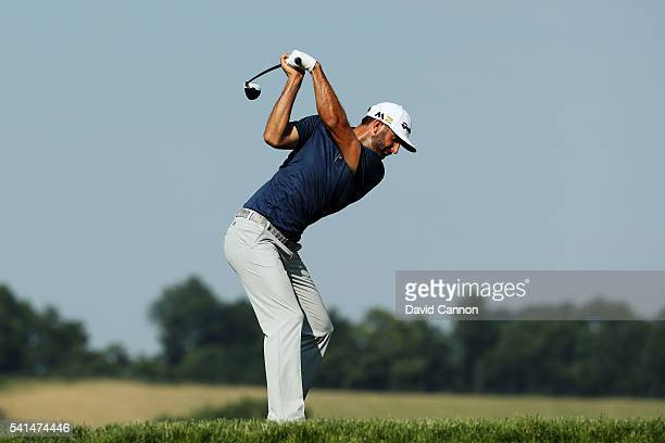 Dustin Johnson of the United States plays his shot from the tenth tee during the final round of the US Open at Oakmont Country Club on June 19 2016...