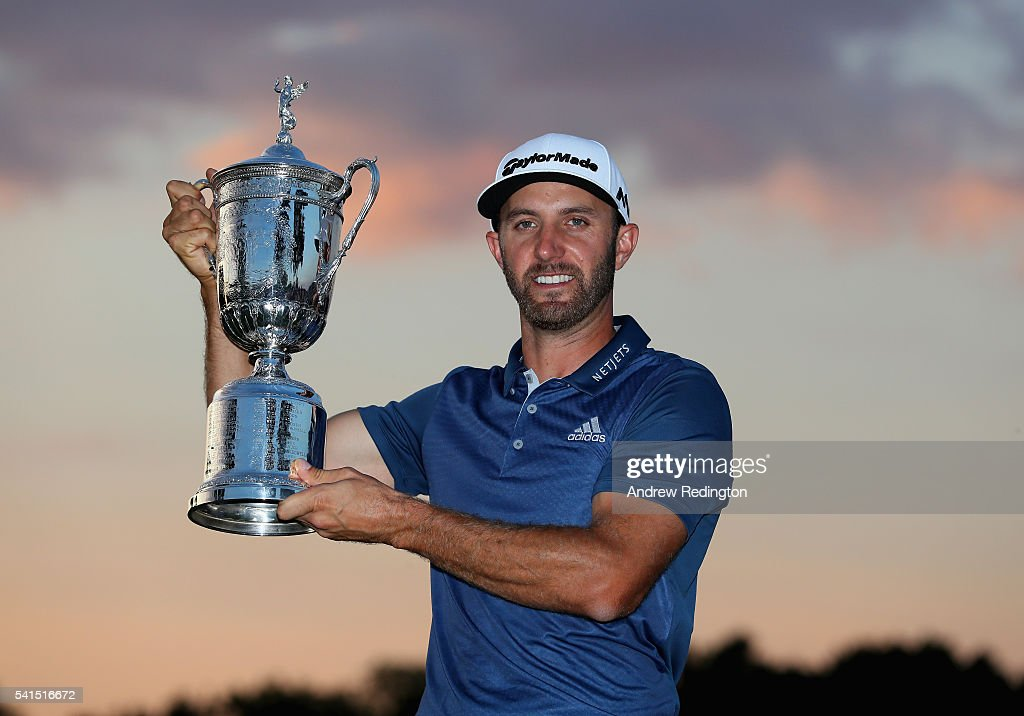 <a gi-track='captionPersonalityLinkClicked' href=/galleries/search?phrase=Dustin+Johnson&family=editorial&specificpeople=3908453 ng-click='$event.stopPropagation()'>Dustin Johnson</a> of the United States poses with the winner's trophy after winning the U.S. Open at Oakmont Country Club on June 19, 2016 in Oakmont, Pennsylvania.