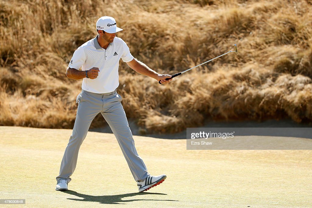 <a gi-track='captionPersonalityLinkClicked' href=/galleries/search?phrase=Dustin+Johnson&family=editorial&specificpeople=3908453 ng-click='$event.stopPropagation()'>Dustin Johnson</a> of the United States reacts after making a putt on the sixth hole during the final round of the 115th U.S. Open Championship at Chambers Bay on June 21, 2015 in University Place, Washington.