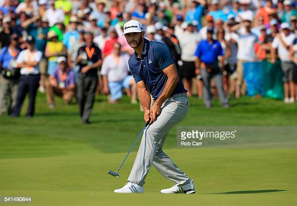 Dustin Johnson of the United States reacts on the seventh green during the final round of the US Open at Oakmont Country Club on June 19 2016 in...