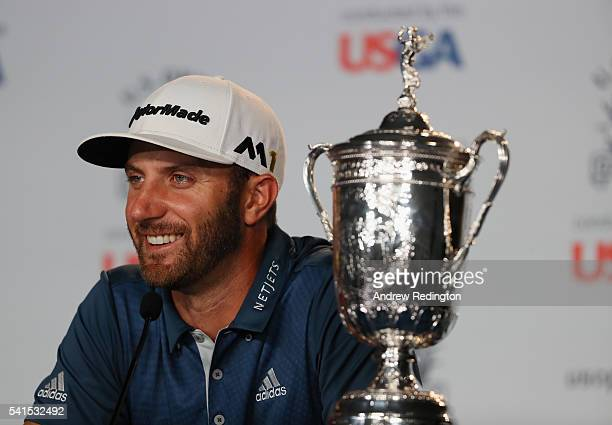 Dustin Johnson of the United States speaks at a press conference after winning the US Open at Oakmont Country Club on June 19 2016 in Oakmont...