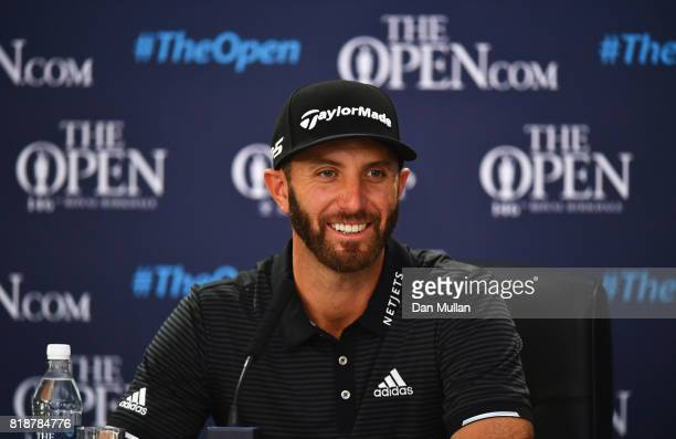 Dustin Johnson of the United States speaks to the media during a press conference prior to the 146th Open Championship at Royal Birkdale on July 19...