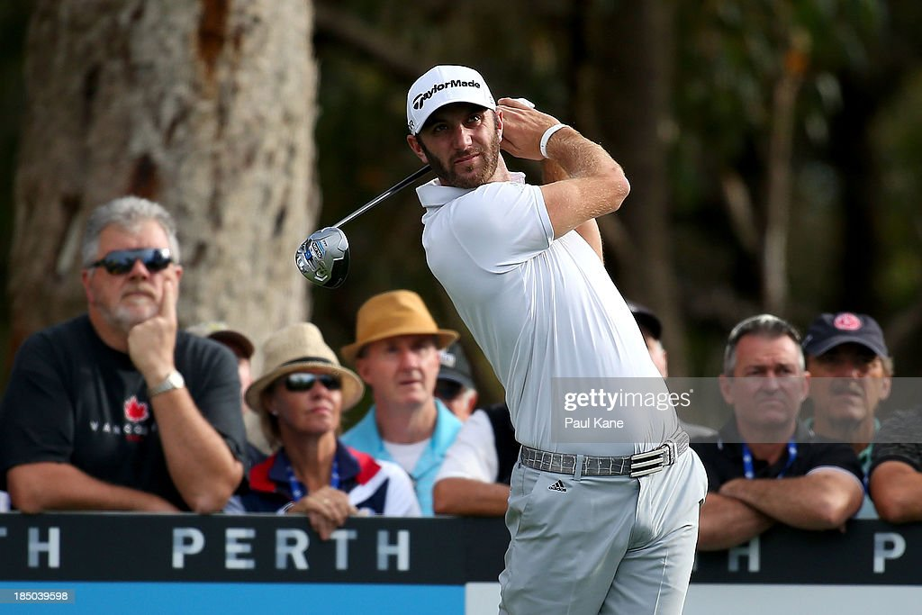 <a gi-track='captionPersonalityLinkClicked' href=/galleries/search?phrase=Dustin+Johnson&family=editorial&specificpeople=3908453 ng-click='$event.stopPropagation()'>Dustin Johnson</a> of the United States tee's off on the 16th hole during day one of the Perth International at Lake Karrinyup Country Club on October 17, 2013 in Perth, Australia.