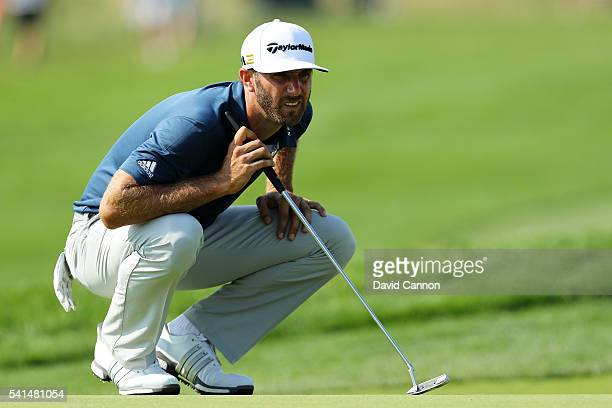 Dustin Johnson of the United States waits on the seventh green during the final round of the US Open at Oakmont Country Club on June 19 2016 in...