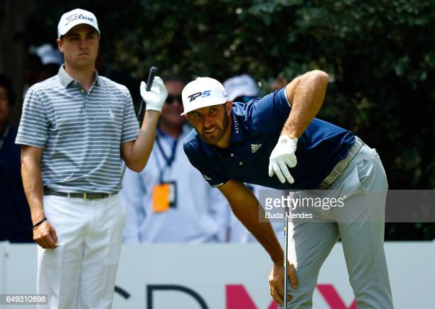 Dustin Johnson of the United States watches his tee shot during the final round of the World Golf Championships Mexico Championship at Club De Golf...