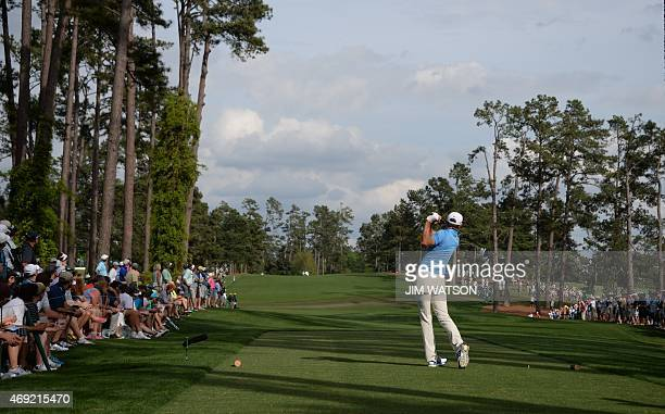 Dustin Johnson of the US tees off on the 17th hole during Round 2 of the 79th Masters Golf Tournament at Augusta National Golf Club on April 10 in...