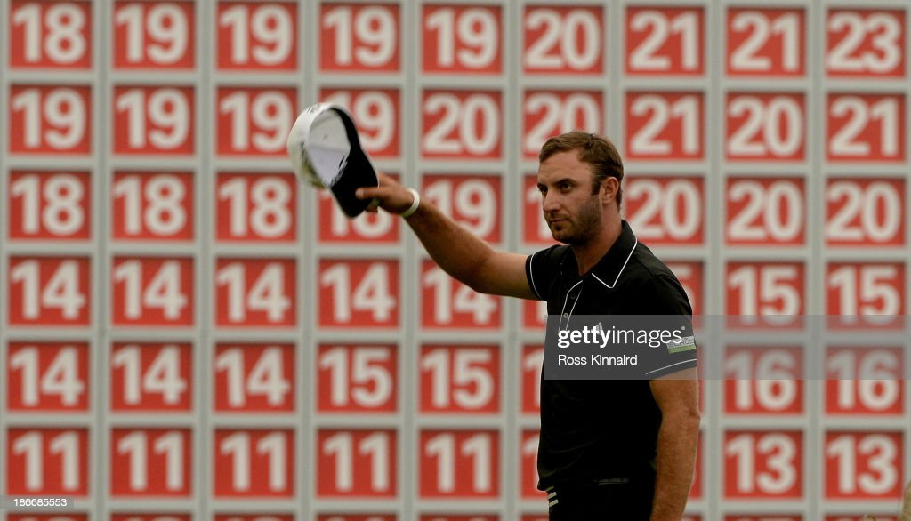 Dustin Johnson of the USA celebrates after the final round of the WGC - HSBC Champions at the Sheshan International Golf Club on November 3, 2013 in Shanghai, China.