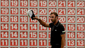 Dustin Johnson of the USA celebrates after the final round of the WGC HSBC Champions at the Sheshan International Golf Club on November 3 2013 in...