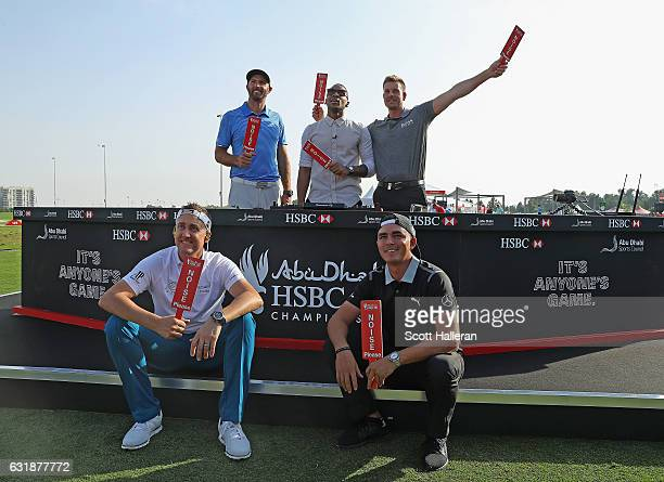 Dustin Johnson of the USA DJ Reggie Yates and Henrik Stenson of Sweden with Ian Poulter of England and Rickie Fowler of the USA during a photocall on...