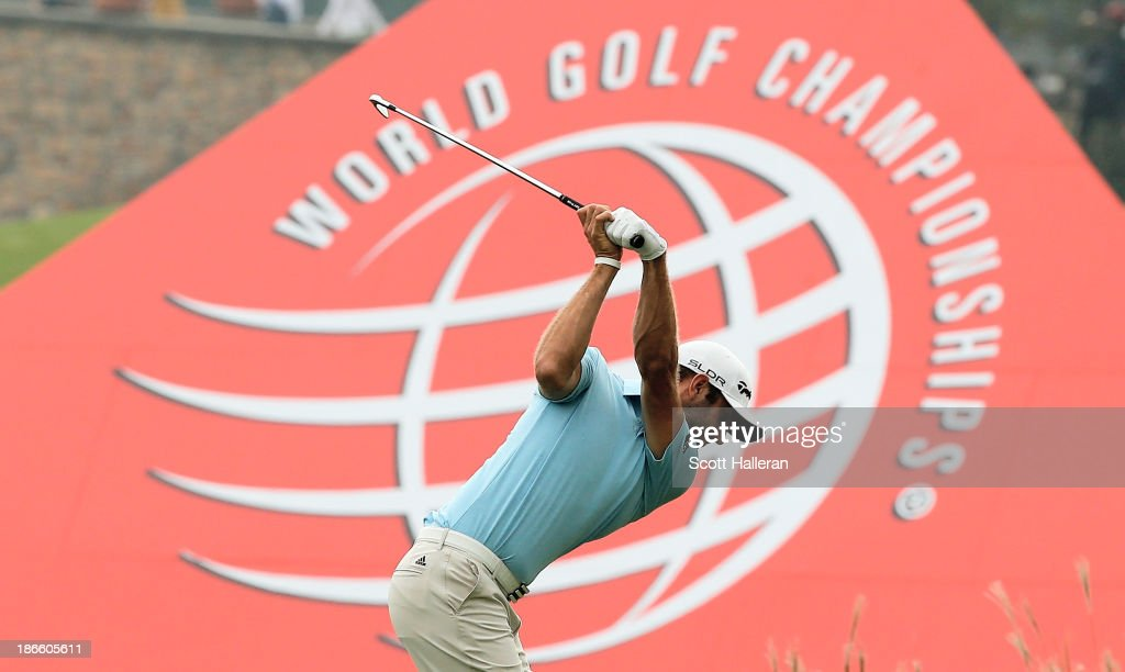 Dustin Johnson of the USA hits his approach shot on the ninth hole during the third round of the WGC-HSBC Champions at the Sheshan International Golf Club on November 2, 2013 in Shanghai, China.