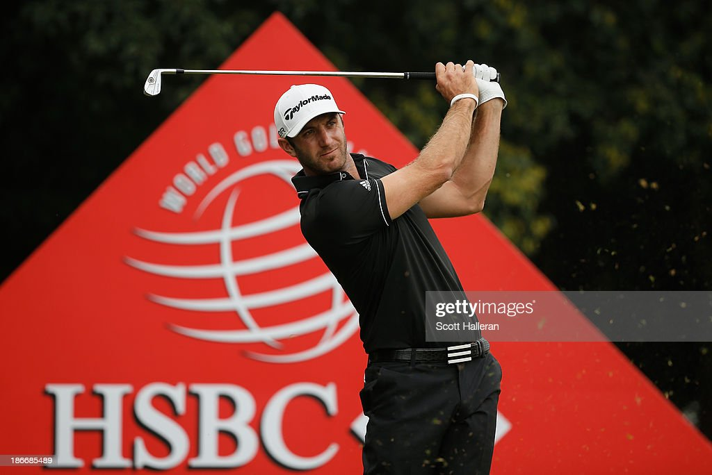 Dustin Johnson of the USA hits his tee shot on the fourth hole during the final round of the WGC-HSBC Champions at the Sheshan International Golf Club on November 3, 2013 in Shanghai, China.