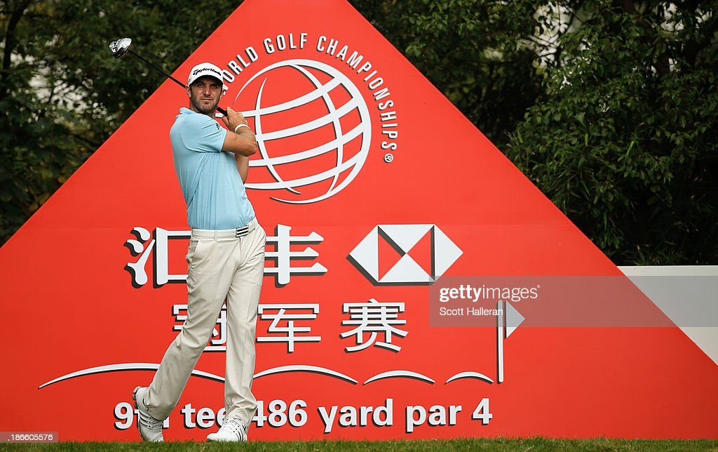 <a gi-track='captionPersonalityLinkClicked' href=/galleries/search?phrase=Dustin+Johnson&family=editorial&specificpeople=3908453 ng-click='$event.stopPropagation()'>Dustin Johnson</a> of the USA hits his tee shot on the ninth hole during the third round of the WGC-HSBC Champions at the Sheshan International Golf Club on November 2, 2013 in Shanghai, China.