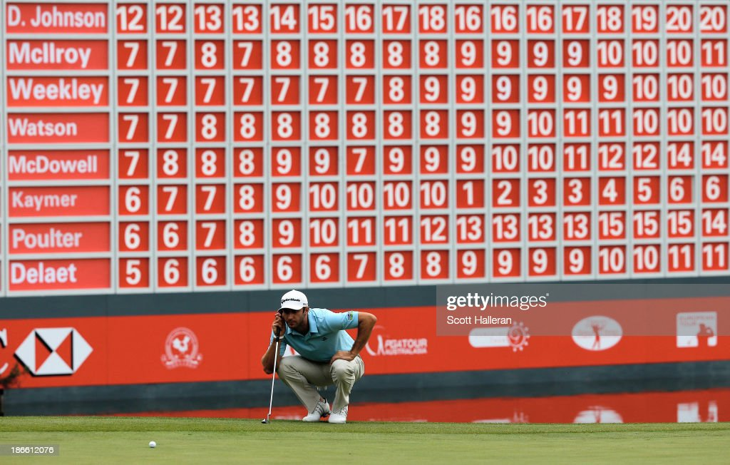Dustin Johnson of the USA lines up a putt on the 18th green during the third round of the WGC-HSBC Champions at the Sheshan International Golf Club on November 2, 2013 in Shanghai, China.