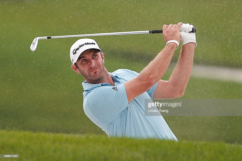 Dustin Johnson of the USA plays a chip shot during the third round of the WGC - HSBC Champions at the Sheshan International Golf Club on November 2, 2013 in Shanghai, China.