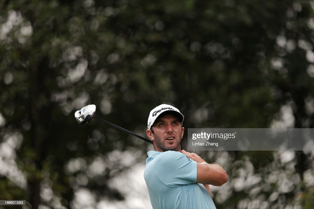 <a gi-track='captionPersonalityLinkClicked' href=/galleries/search?phrase=Dustin+Johnson&family=editorial&specificpeople=3908453 ng-click='$event.stopPropagation()'>Dustin Johnson</a> of the USA plays a chip shot during the thrid round of the WGC - HSBC Champions at the Sheshan International Golf Club on November 2, 2013 in Shanghai, China.