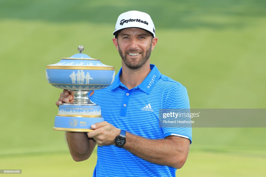 Dustin Johnson of the USA poses with the trophy after winning the World Golf Championships-Dell Technologies Match Play at the Austin Country Club on March 26, 2017 in Austin, Texas.