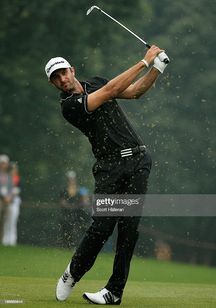 Dustin Johnson of the USA watches a shot on the ninth hole during the final round of the WGC-HSBC Champions at the Sheshan International Golf Club on November 3, 2013 in Shanghai, China.
