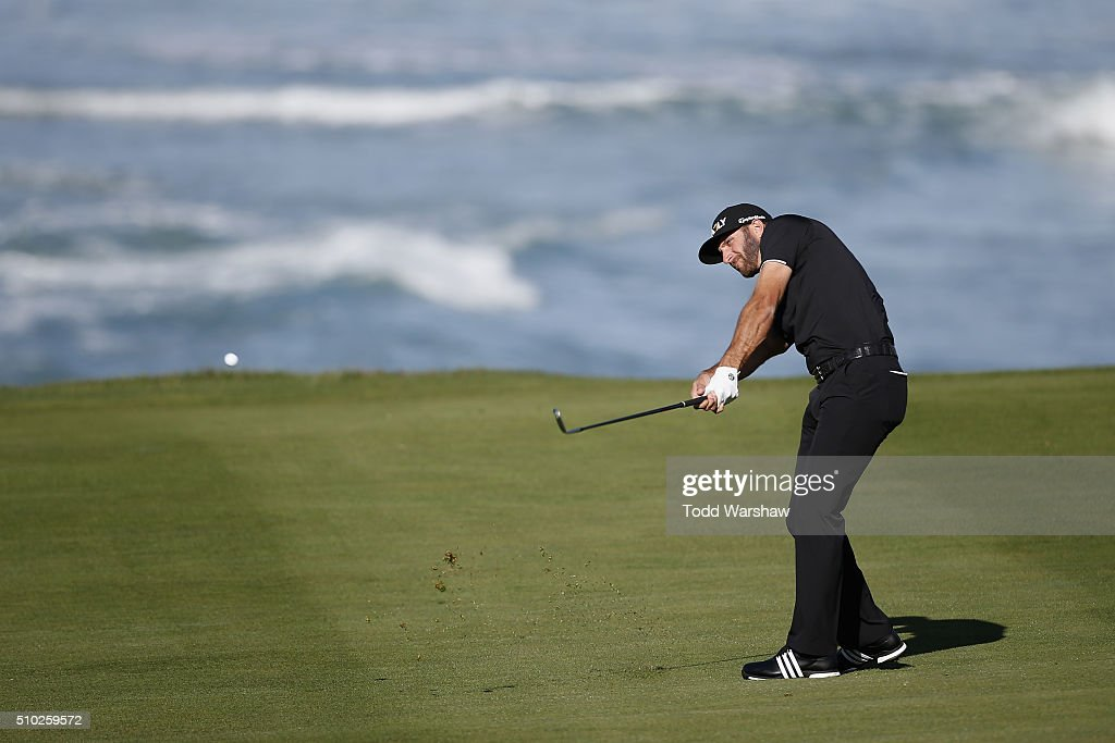 <a gi-track='captionPersonalityLinkClicked' href=/galleries/search?phrase=Dustin+Johnson&family=editorial&specificpeople=3908453 ng-click='$event.stopPropagation()'>Dustin Johnson</a> plays a shot on the 10th fairway during the final round of the AT&T Pebble Beach National Pro-Am at the Pebble Beach Golf Links on February 14, 2016 in Pebble Beach, California.
