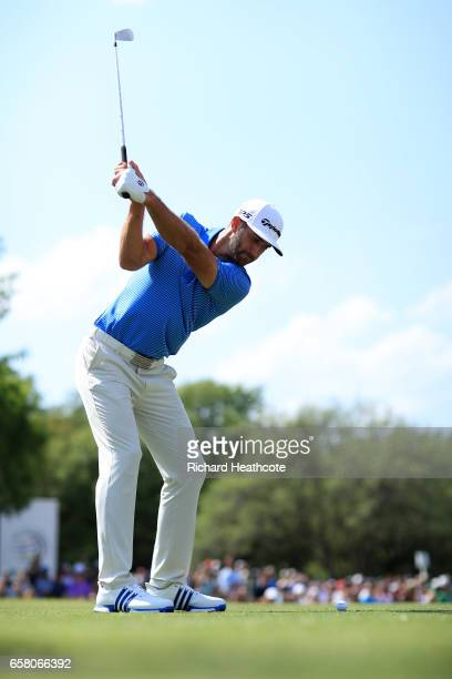 Dustin Johnson plays a shot on the 7th hole during the final match of the World Golf ChampionshipsDell Technologies Match Play at the Austin Country...