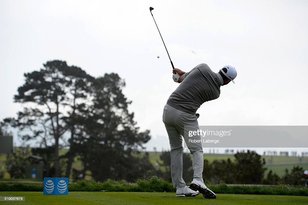 Dustin Johnson plays his tee shot on the fifth hole during round three of the AT&T Pebble Beach National Pro-Am at the Pebble Beach Golf Links on February 13, 2016 in Pebble Beach, California.