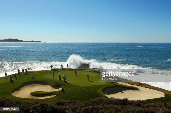 Dustin Johnson putts on the seventh hole during the first round of the ATT Pebble Beach National ProAm at Pebble Beach Golf Links on February 9 2012...