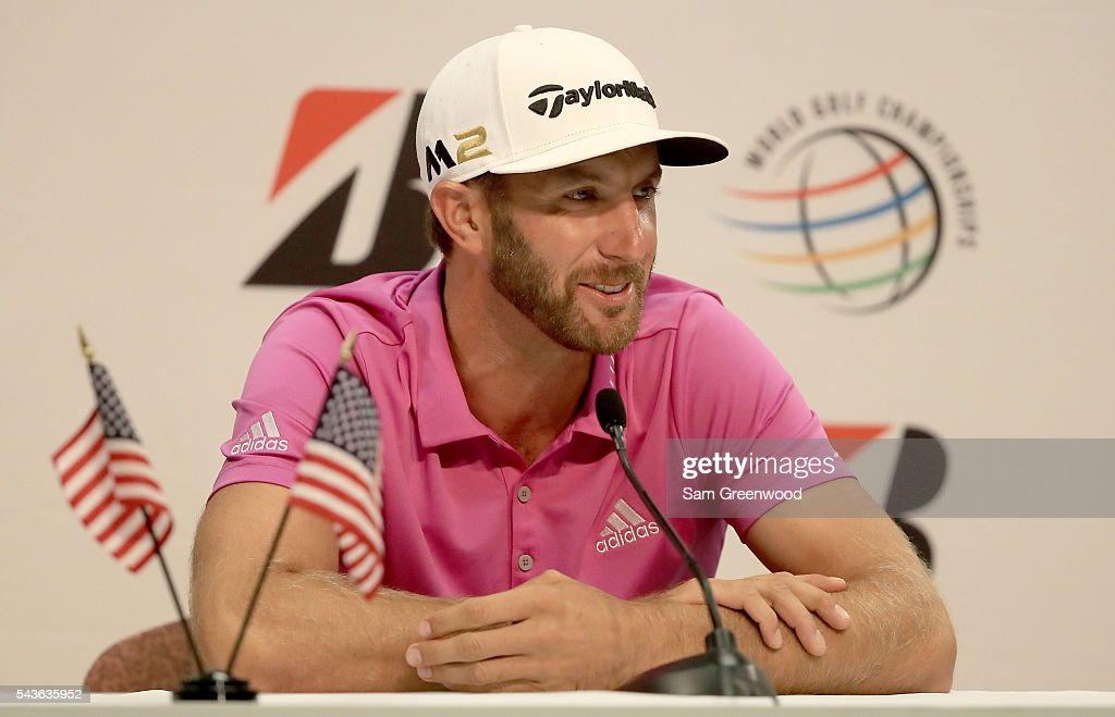 <a gi-track='captionPersonalityLinkClicked' href=/galleries/search?phrase=Dustin+Johnson&family=editorial&specificpeople=3908453 ng-click='$event.stopPropagation()'>Dustin Johnson</a> speaks to the media prior to the World Golf Championships-Bridgestone Invitational at Firestone Country Club South course on June 29, 2016 in Akron, Ohio.