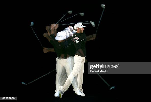 Dustin Johnson swings his driver in a studio portrait during the Farmers Insurance Open Pro Am on February 4 2015 at Torrey Pines Golf Course in La...