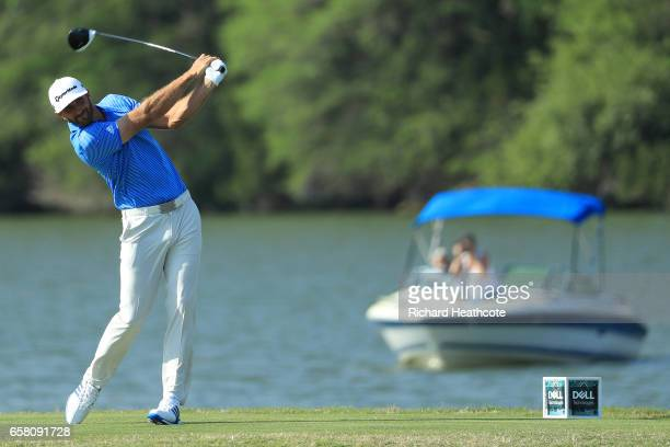 Dustin Johnson tees off on the 14th hole during the final match of the World Golf ChampionshipsDell Technologies Match Play at the Austin Country...