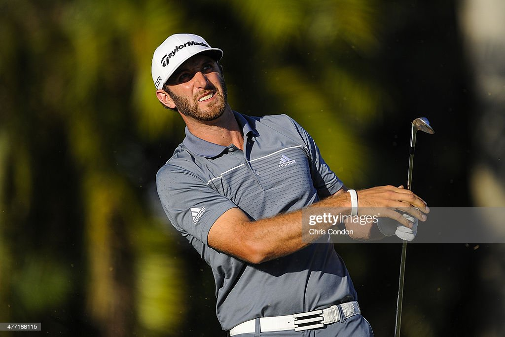 Dustin Johnson tees off on the 15th hole during the second round of the World Golf Championships-Cadillac Championship at Blue Monster, Trump National Doral, on March 7, 2014 in Doral, Florida.
