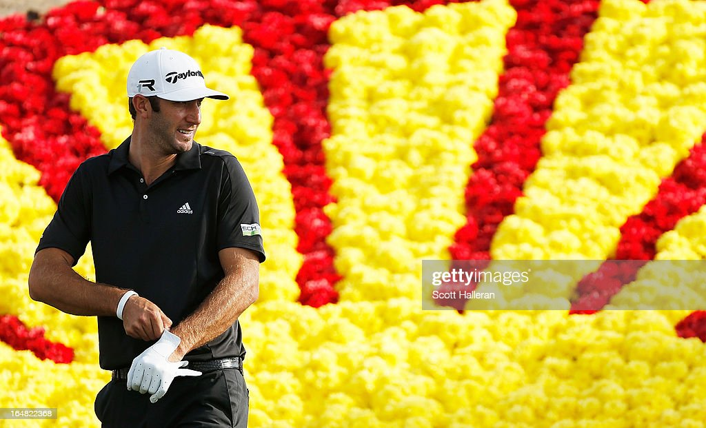 Dustin Johnson waits on the 18th tee during the first round of the Shell Houston Open at the Redstone Golf Club on March 28, 2013 in Humble, Texas.