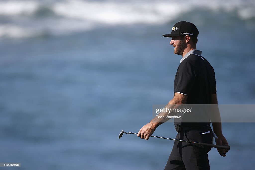 <a gi-track='captionPersonalityLinkClicked' href=/galleries/search?phrase=Dustin+Johnson&family=editorial&specificpeople=3908453 ng-click='$event.stopPropagation()'>Dustin Johnson</a> walks down the 10th fairway during the final round of the AT&T Pebble Beach National Pro-Am at the Pebble Beach Golf Links on February 14, 2016 in Pebble Beach, California.