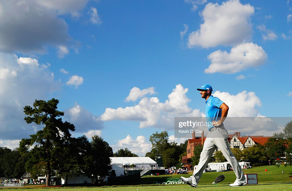 Dustin Johnson walks off the 16th tee during the second round of the TOUR Championship at East Lake Golf Club on September 23, 2016 in Atlanta, Georgia.