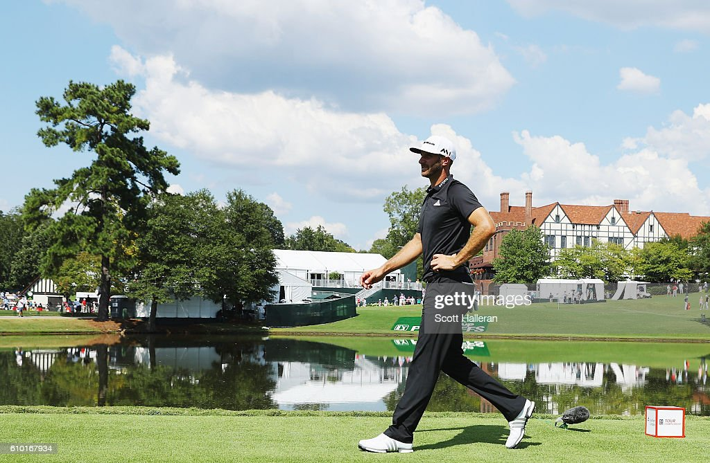 Dustin Johnson walks on the 16th hole during the third round of the TOUR Championship at East Lake Golf Club on September 24, 2016 in Atlanta, Georgia.