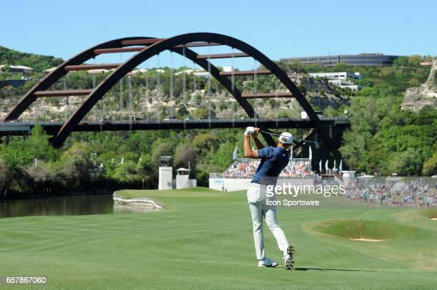 Dustin Johnson watches his approach shot on the twelfth hole during the quarterfinals of the WCGDell Technologies Match Play on March 25 at the...