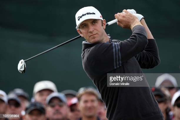 Dustin Johnson watches his tee shot on the ninth hole during the third round of the 110th US Open at Pebble Beach Golf Links on June 19 2010 in...