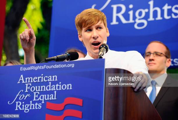 Dustin Lance Black Academy Award winning writer of the film 'Milk' speaks during a rally to celebrate the ruling to overturn Proposition 8 on August...