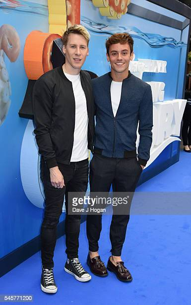 Dustin Lance Black and Tom Daley arrive for the UK Premiere of 'Finding Dory' at Odeon Leicester Square on July 10 2016 in London England