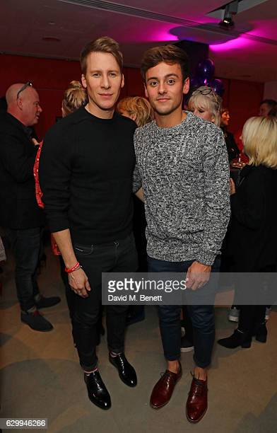 Dustin Lance Black and Tom Daley attend a postshow drinks reception following the Gala Night performance of 'Matthew Bourne's The Red Shoes' at...