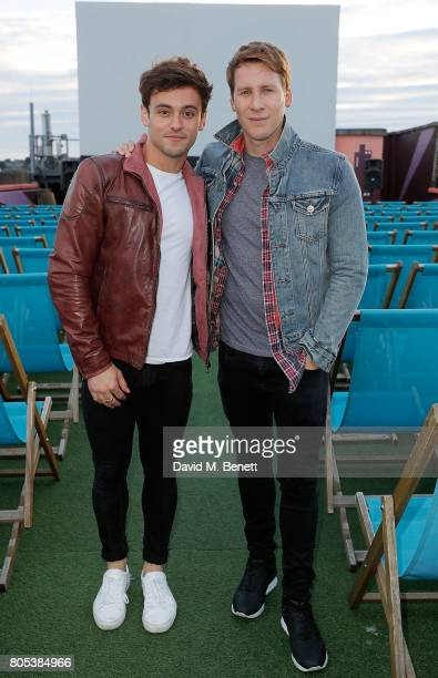 Dustin Lance Black and Tom Daley attend the MILK Screening for the Focus Features 15 Year Anniversary at The Rooftop Film Club on July 1 2017 in...
