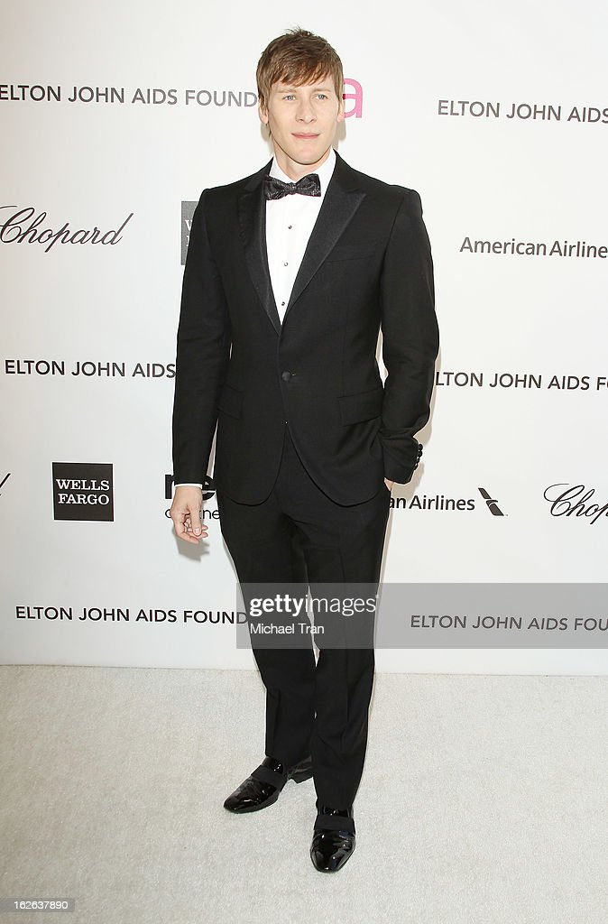 <a gi-track='captionPersonalityLinkClicked' href=/galleries/search?phrase=Dustin+Lance+Black&family=editorial&specificpeople=5582627 ng-click='$event.stopPropagation()'>Dustin Lance Black</a> arrives at the 21st Annual Elton John AIDS Foundation Academy Awards viewing party held at West Hollywood Park on February 24, 2013 in West Hollywood, California.
